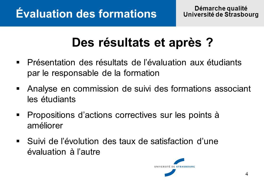 4 Évaluation des formations Démarche qualité Université de Strasbourg Des résultats et après ? Présentation des résultats de lévaluation aux étudiants