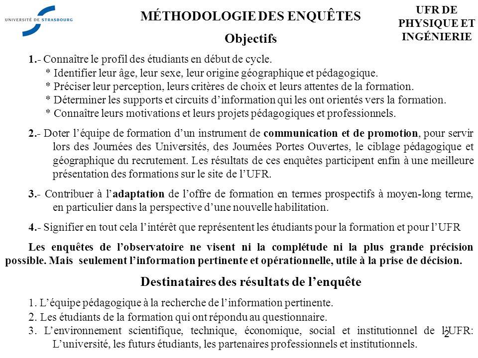 2 MÉTHODOLOGIE DES ENQUÊTES Objectifs 1.- Connaître le profil des étudiants en début de cycle.