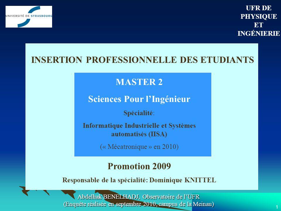 1 UFR DE PHYSIQUE ET INGÉNIERIE INSERTION PROFESSIONNELLE DES ETUDIANTS MASTER 2 Sciences Pour lIngénieur Spécialité: Informatique Industrielle et Systèmes automatisés (IISA) (« Mécatronique » en 2010) Promotion 2009 Responsable de la spécialité: Dominique KNITTEL Abdelhak BENELHADJ, Observatoire de lUFR (Enquête réalisée en septembre 2010, campus de la Meinau)