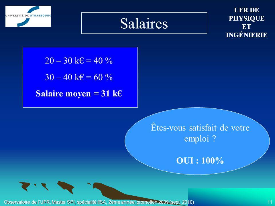 11 Observatoire de lUFR, Master SPI, spécialité IISA, 2ème année, promotion 2009 (sept.