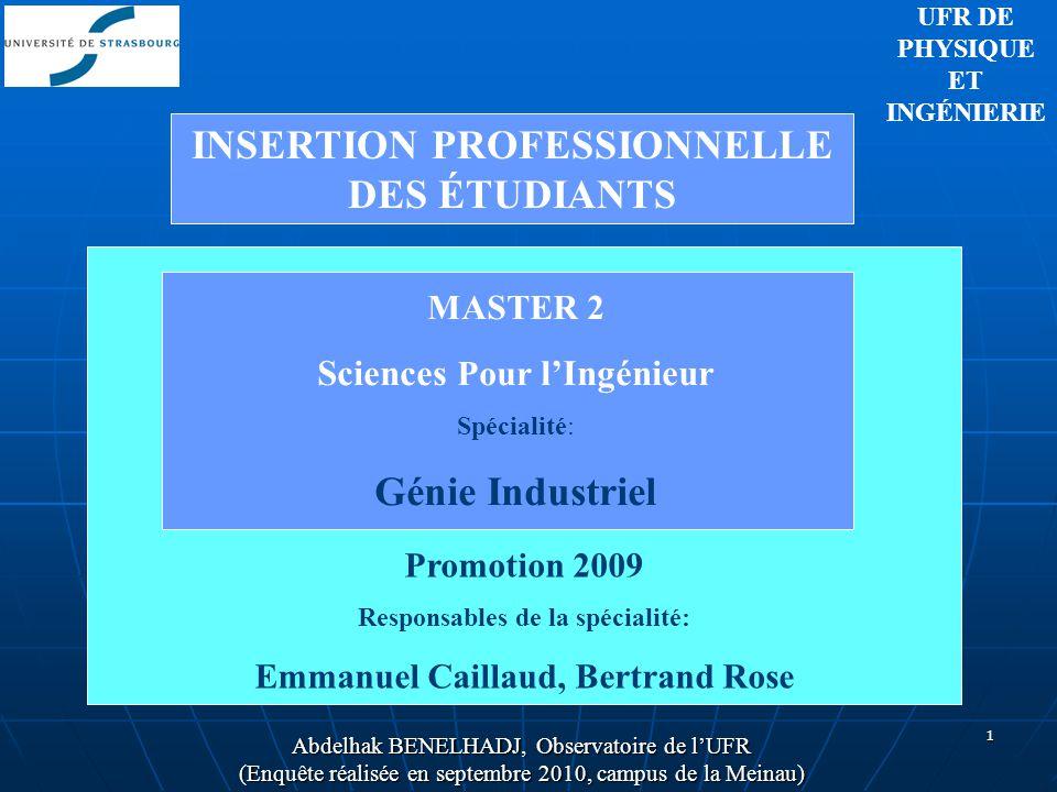 1 UFR DE PHYSIQUE ET INGÉNIERIE MASTER 2 Sciences Pour lIngénieur Spécialité: Génie Industriel Promotion 2009 Responsables de la spécialité: Emmanuel