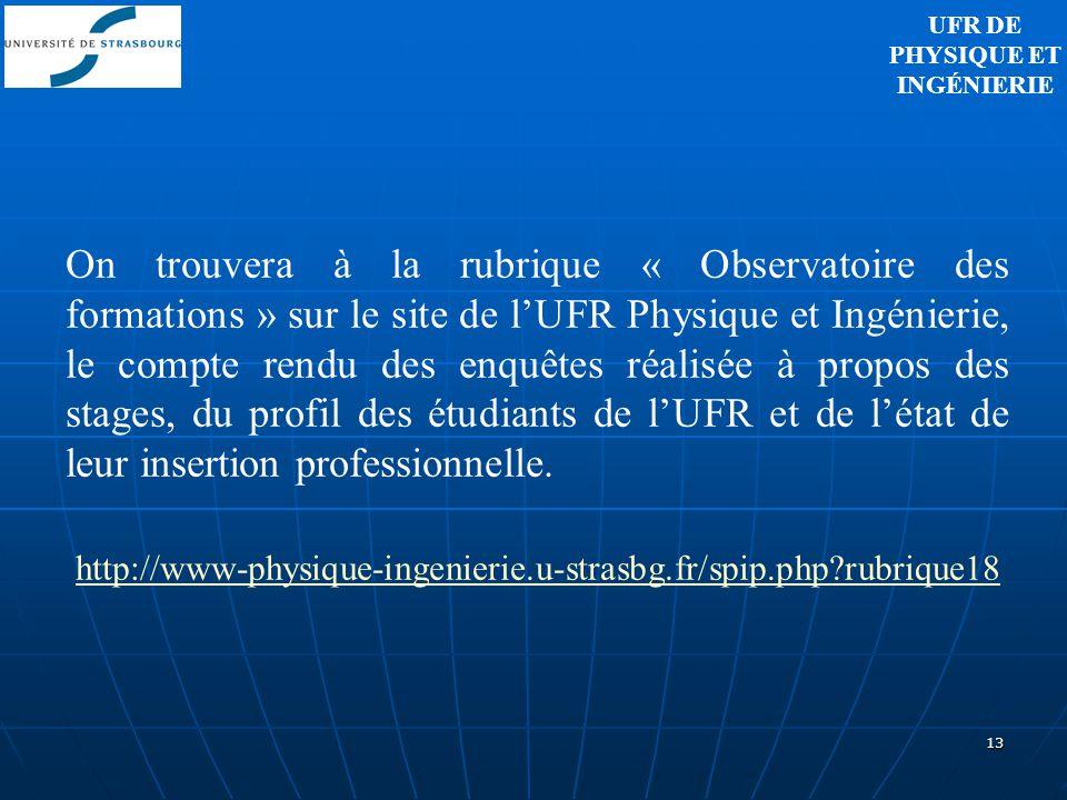13 On trouvera à la rubrique « Observatoire des formations » sur le site de lUFR Physique et Ingénierie, le compte rendu des enquêtes réalisée à propo