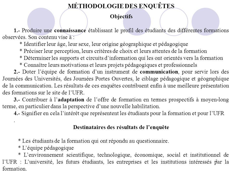 2 MÉTHODOLOGIE DES ENQUÊTES Objectifs 1.- Produire une connaissance établissant le profil des étudiants des différentes formations observées.