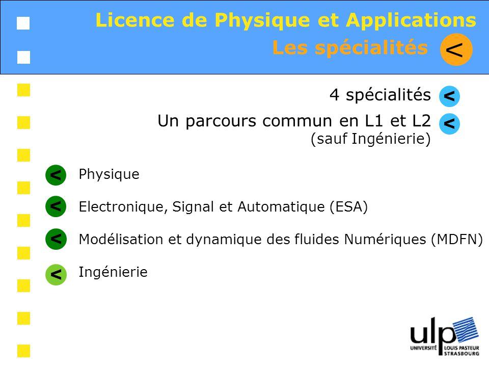 Les spécialités V Licence de Physique et Applications Physique Electronique, Signal et Automatique (ESA) Modélisation et dynamique des fluides Numériq