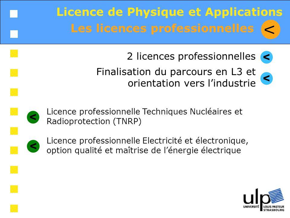 Les licences professionnelles V Licence de Physique et Applications 2 licences professionnelles Finalisation du parcours en L3 et orientation vers lin