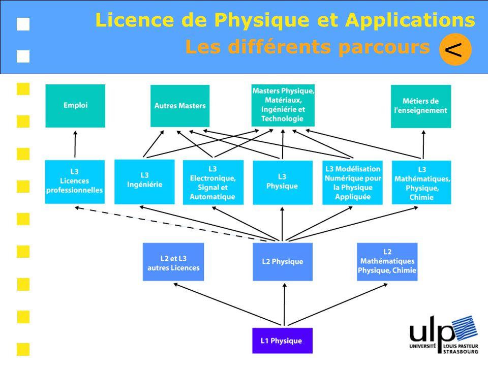 V Licence de Physique et Applications Les différents parcours