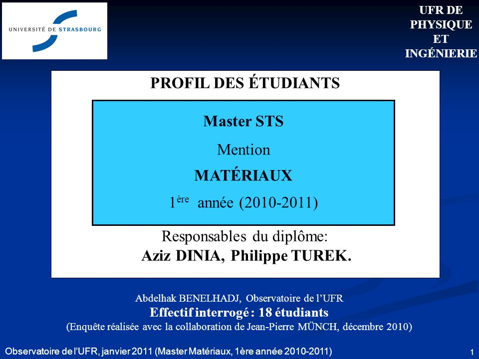 Observatoire de lUFR, janvier 2011 (Master Matériaux, 1ère année 2010-2011) 1 PROFIL DES ÉTUDIANTS Responsables du diplôme: Aziz DINIA, Philippe TUREK