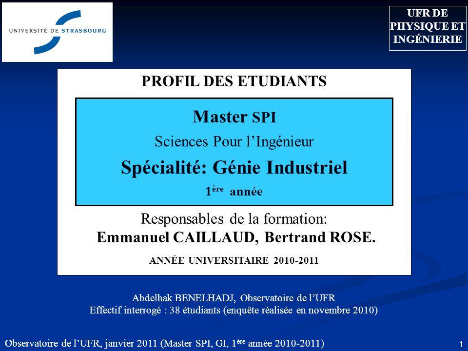 Observatoire de lUFR, janvier 2011 (Master SPI, GI, 1 ère année 2010-2011) 1 PROFIL DES ETUDIANTS Responsables de la formation: Emmanuel CAILLAUD, Bertrand ROSE.