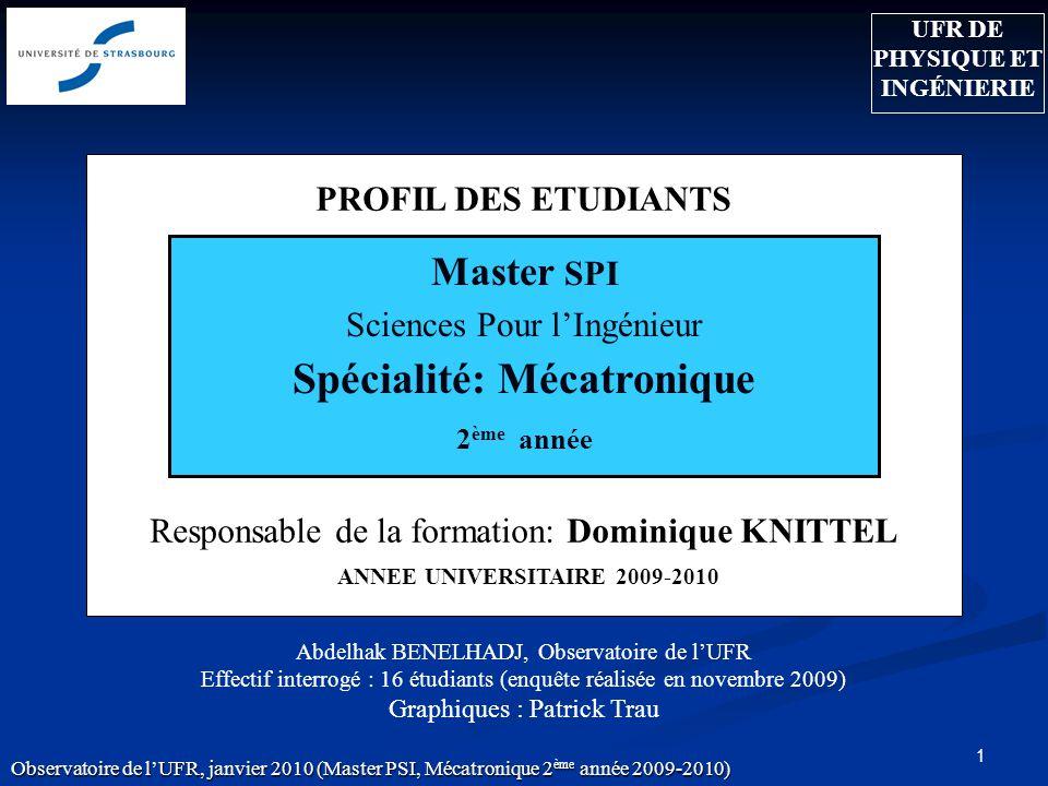 1 PROFIL DES ETUDIANTS Responsable de la formation: Dominique KNITTEL ANNEE UNIVERSITAIRE 2009-2010 Abdelhak BENELHADJ, Observatoire de lUFR Effectif
