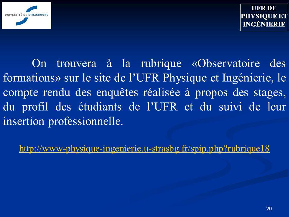 20 On trouvera à la rubrique «Observatoire des formations» sur le site de lUFR Physique et Ingénierie, le compte rendu des enquêtes réalisée à propos