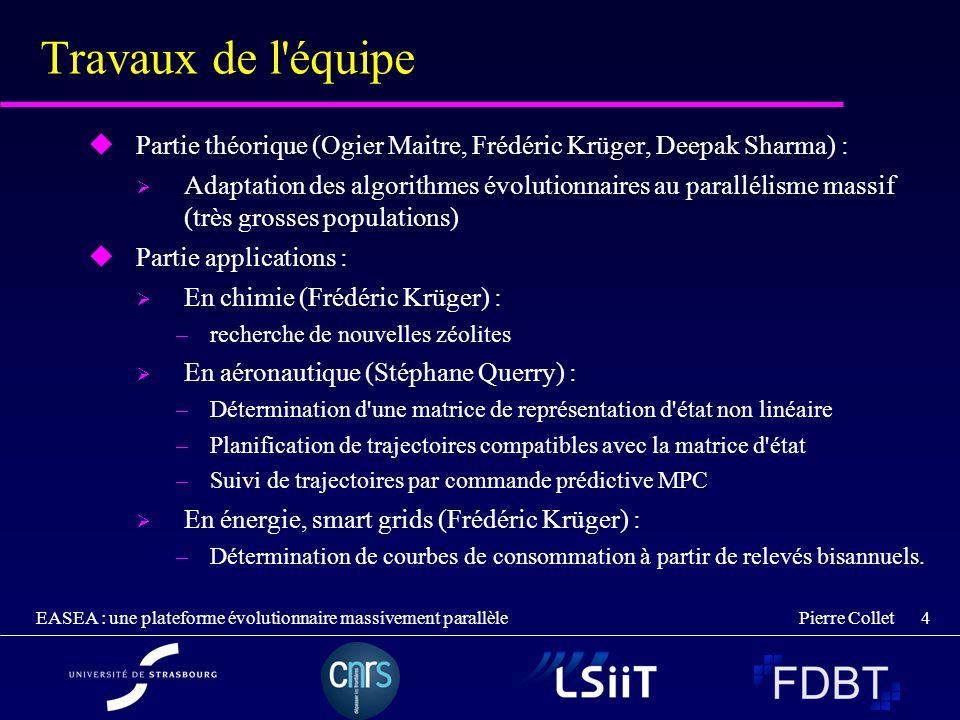 Pierre Collet EASEA : une plateforme évolutionnaire massivement parallèle 4 Travaux de l'équipe Partie théorique (Ogier Maitre, Frédéric Krüger, Deepa