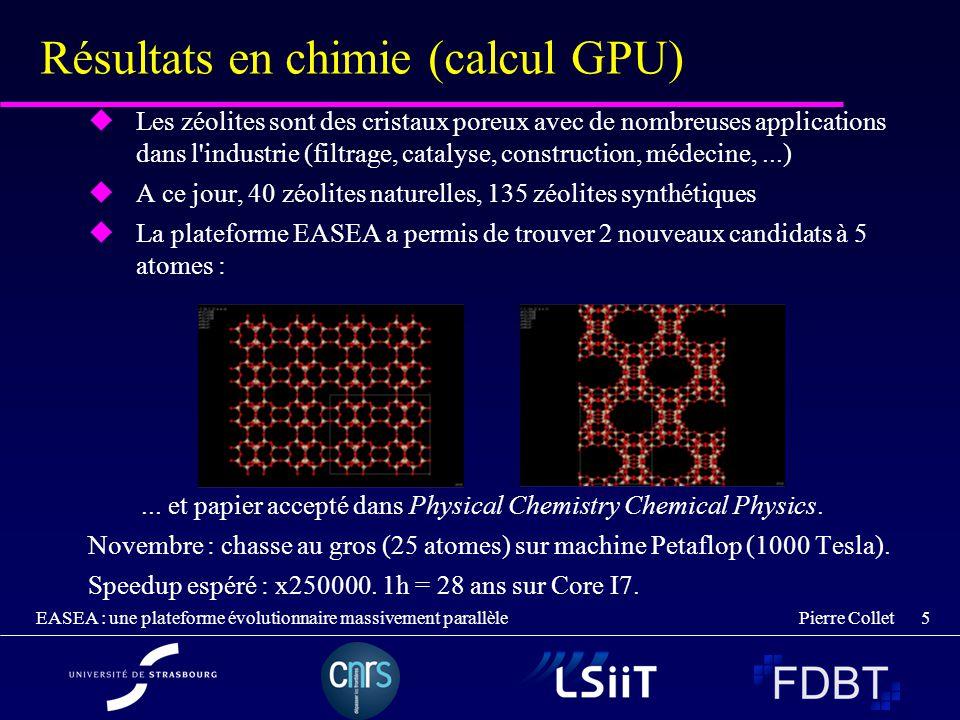 Pierre Collet EASEA : une plateforme évolutionnaire massivement parallèle 5 Résultats en chimie (calcul GPU) Les zéolites sont des cristaux poreux ave