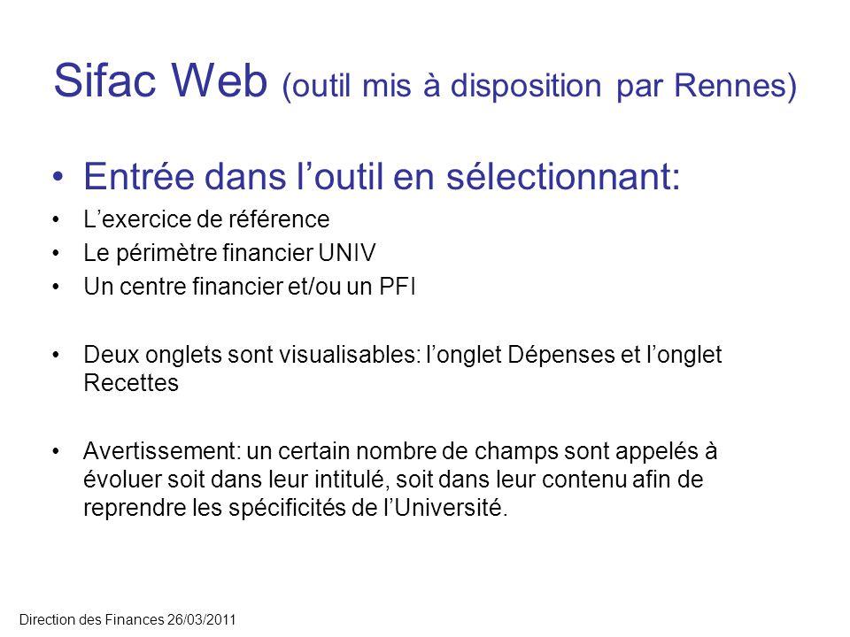 Sifac Web (outil mis à disposition par Rennes) Entrée dans loutil en sélectionnant: Lexercice de référence Le périmètre financier UNIV Un centre finan