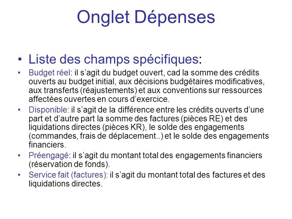 Liste des champs spécifiques: Budget réel: il sagit du budget ouvert, cad la somme des crédits ouverts au budget initial, aux décisions budgétaires mo