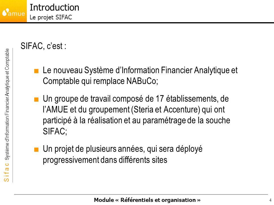 Module « Référentiels et organisation » S i f a c Système dInformation Financier Analytique et Comptable 45 Trois axes obligatoires : Centre financier : unité au sein de laquelle le budget est mis en place et potentiellement exécuté.