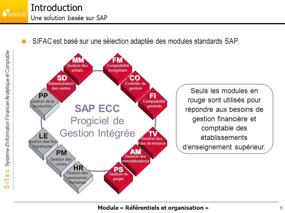 Module « Référentiels et organisation » S i f a c Système dInformation Financier Analytique et Comptable 77 Mandant : le mandant est la structure physique la plus élevée du système dinformation.