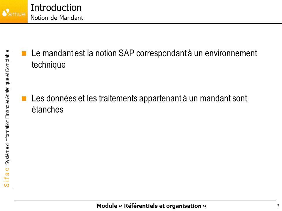Module « Référentiels et organisation » S i f a c Système dInformation Financier Analytique et Comptable 78 Périmètre financier : Il constitue un ensemble cohérent de règles et processus budgétaires.