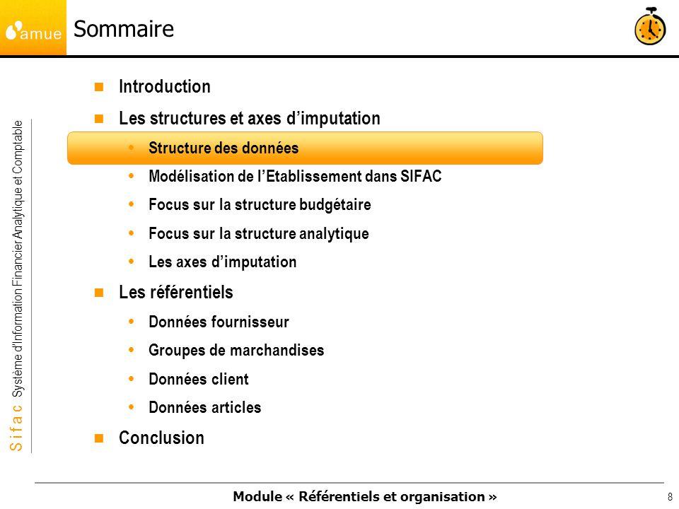 Module « Référentiels et organisation » S i f a c Système dInformation Financier Analytique et Comptable 9 Les modules SIFAC proposent un ensemble intégré de traitements prédéfinis et personnalisés : création dune commande, comptabilisation dune facture, livraison … pour gérer votre activité quotidienne.