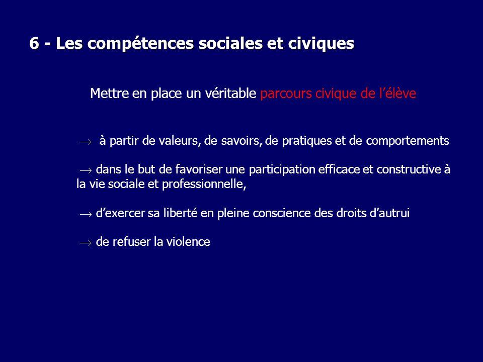 6 - Les compétences sociales et civiques Mettre en place un véritable parcours civique de lélève à partir de valeurs, de savoirs, de pratiques et de c