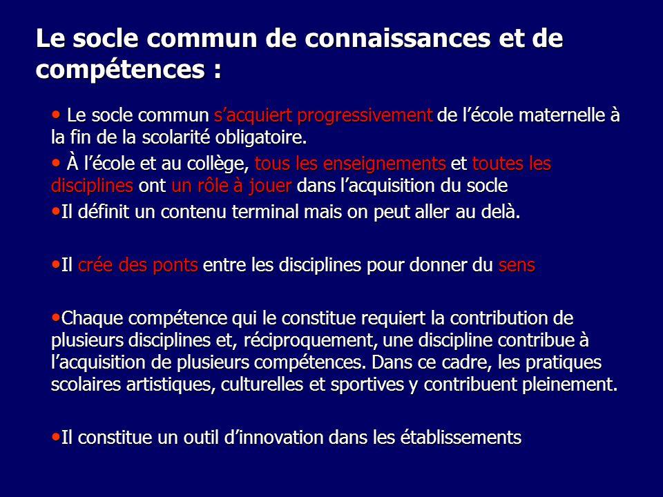 Le socle commun de connaissances et de compétences : Le socle commun sacquiert progressivement de lécole maternelle à la fin de la scolarité obligatoi