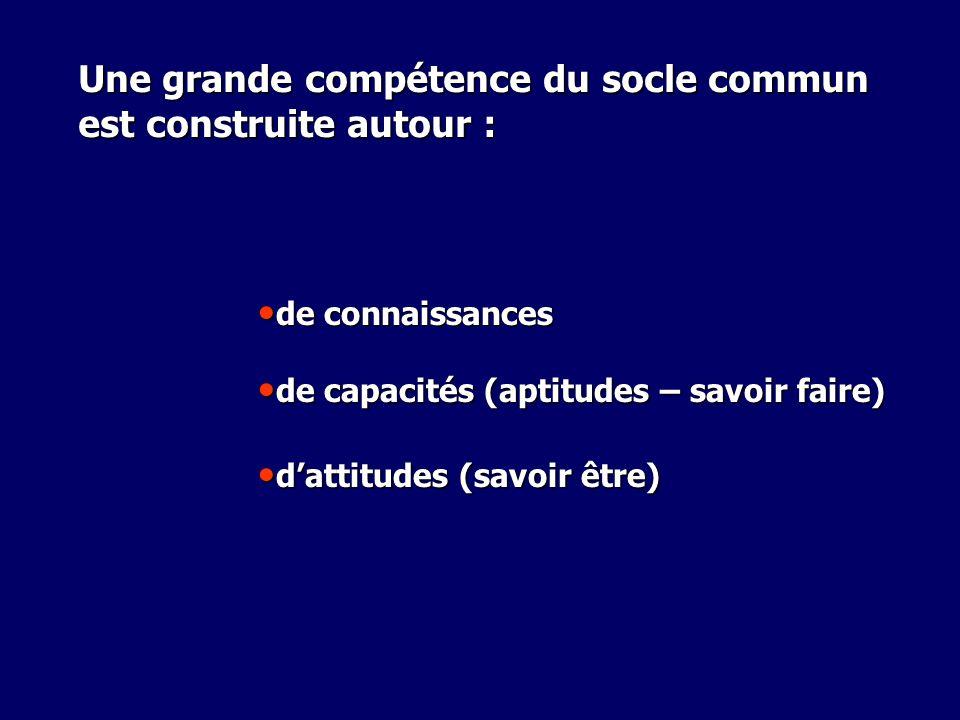 Une grande compétence du socle commun est construite autour : de connaissances de connaissances de capacités (aptitudes – savoir faire) de capacités (