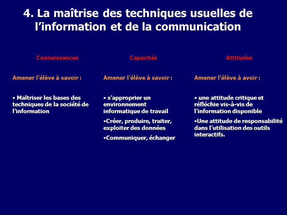 4. La maîtrise des techniques usuelles de linformation et de la communication Connaissances Amener lélève à savoir : Maîtriser les bases des technique