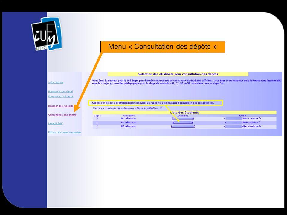 C.F.P.: accès en cliquant sur le nom de létudiant à partir de la page de consultation des dépôts.