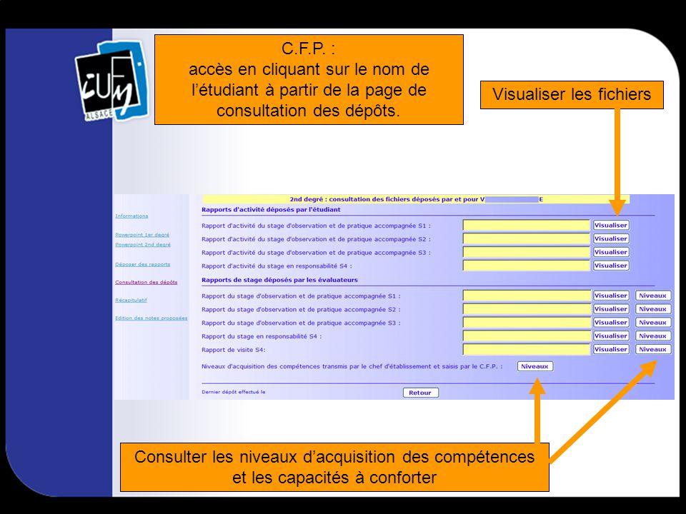 MAT du semestre 1 : accès en cliquant sur le nom de létudiant à partir de la page de consultation des dépôts.