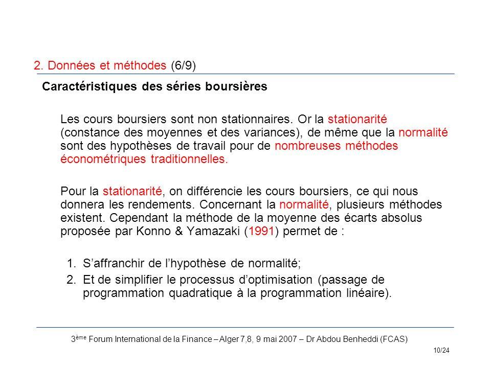 3 ème Forum International de la Finance – Alger 7,8, 9 mai 2007 – Dr Abdou Benheddi (FCAS) 10/24 Caractéristiques des séries boursières Les cours bour