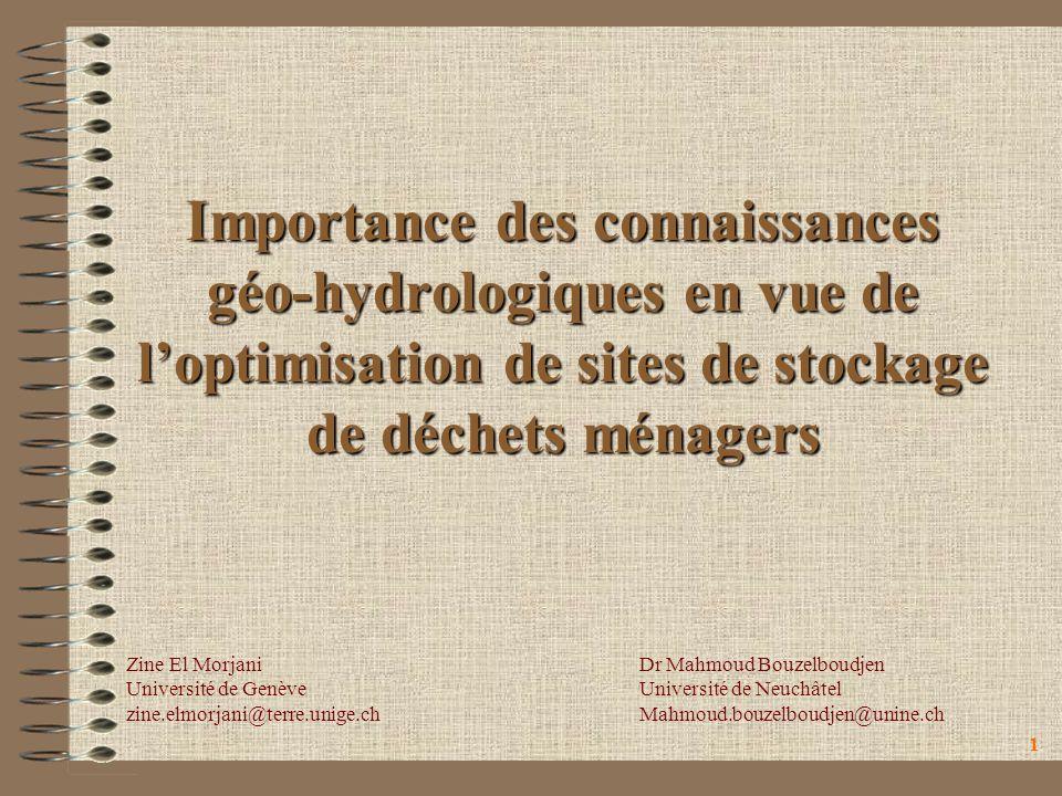 11 Importance des connaissances géo-hydrologiques en vue de loptimisation de sites de stockage de déchets ménagers Zine El Morjani Université de Genèv