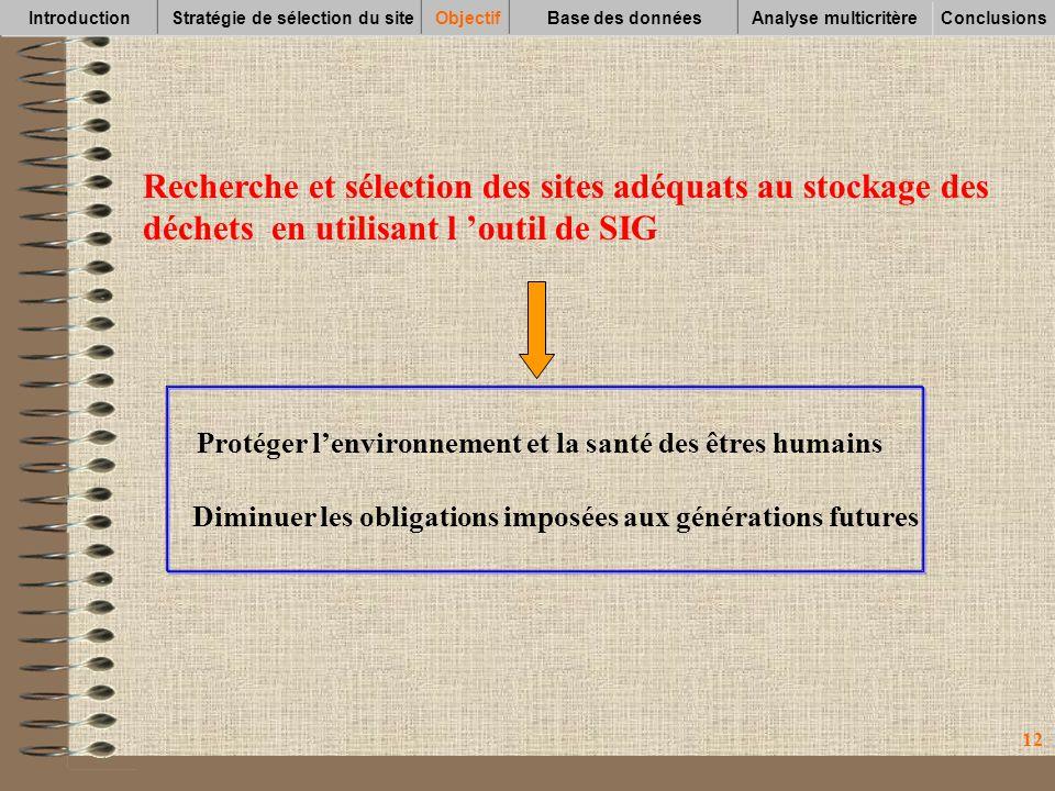 12 Recherche et sélection des sites adéquats au stockage des déchets en utilisant l outil de SIG Protéger lenvironnement et la santé des êtres humains