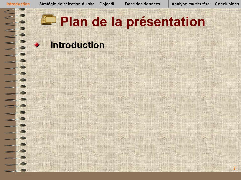 33 Plan de la présentation Introduction Stratégie de sélection du site IntroductionStratégie de sélection du siteObjectifBase des données Conclusions Analyse multicritère