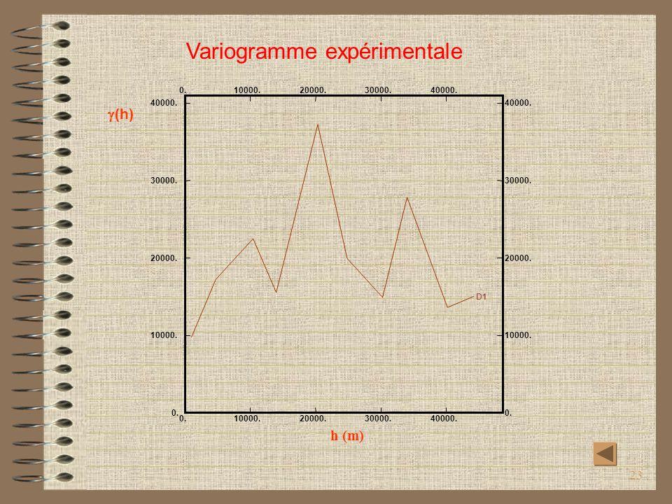23 h (m) (h) D1 0. 10000. 20000. 30000. 40000. 0. 10000. 20000. 30000. 40000. Variogramme expérimentale