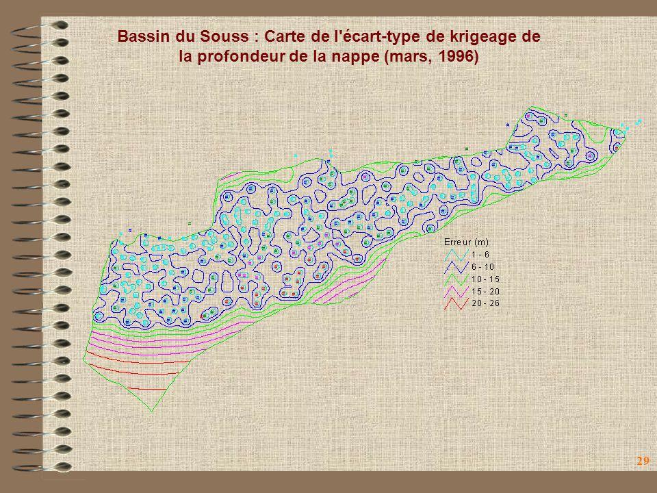 29 Bassin du Souss : Carte de l'écart-type de krigeage de la profondeur de la nappe (mars, 1996)