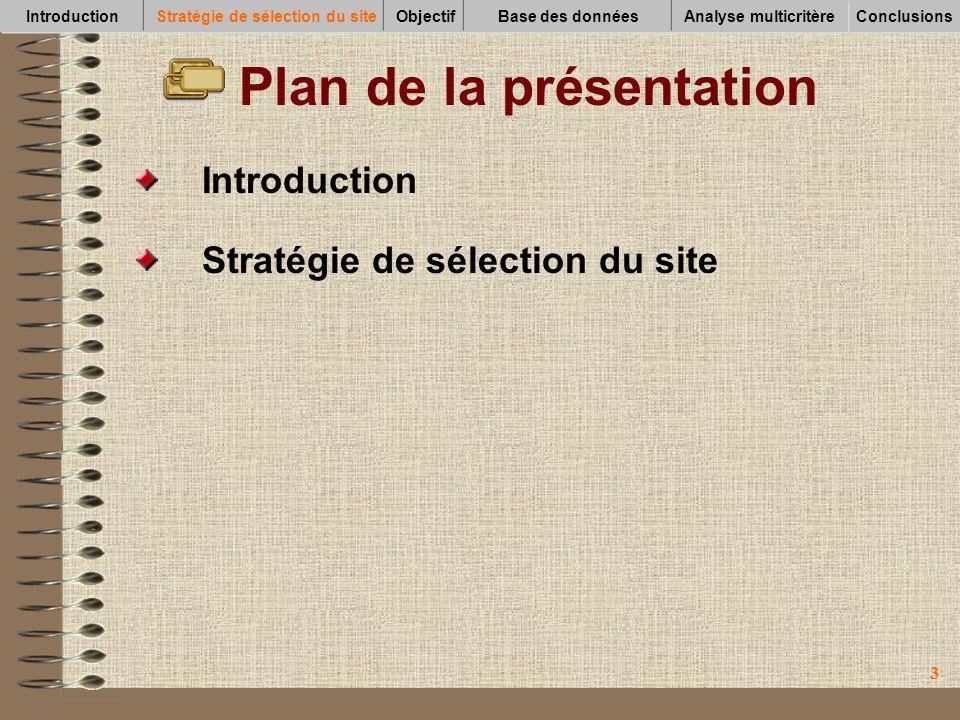 44 Plan de la présentation Objectif Introduction Stratégie de sélection du site IntroductionStratégie de sélection du siteObjectifBase des données Conclusions Analyse multicritère