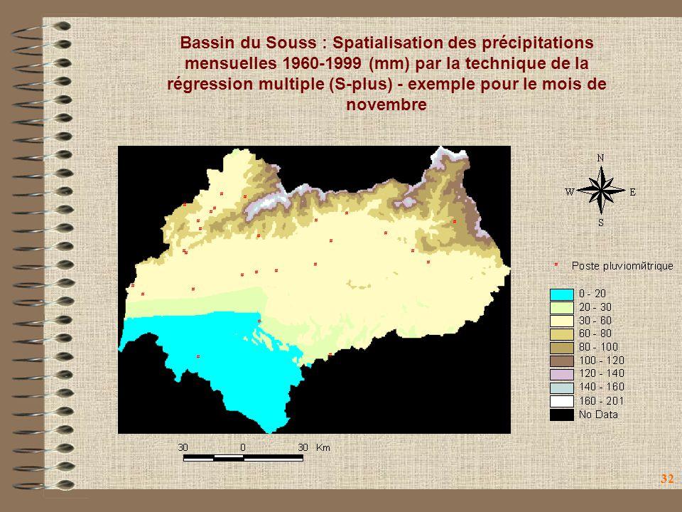 32 Bassin du Souss : Spatialisation des précipitations mensuelles 1960-1999 (mm) par la technique de la régression multiple (S-plus) - exemple pour le mois de novembre