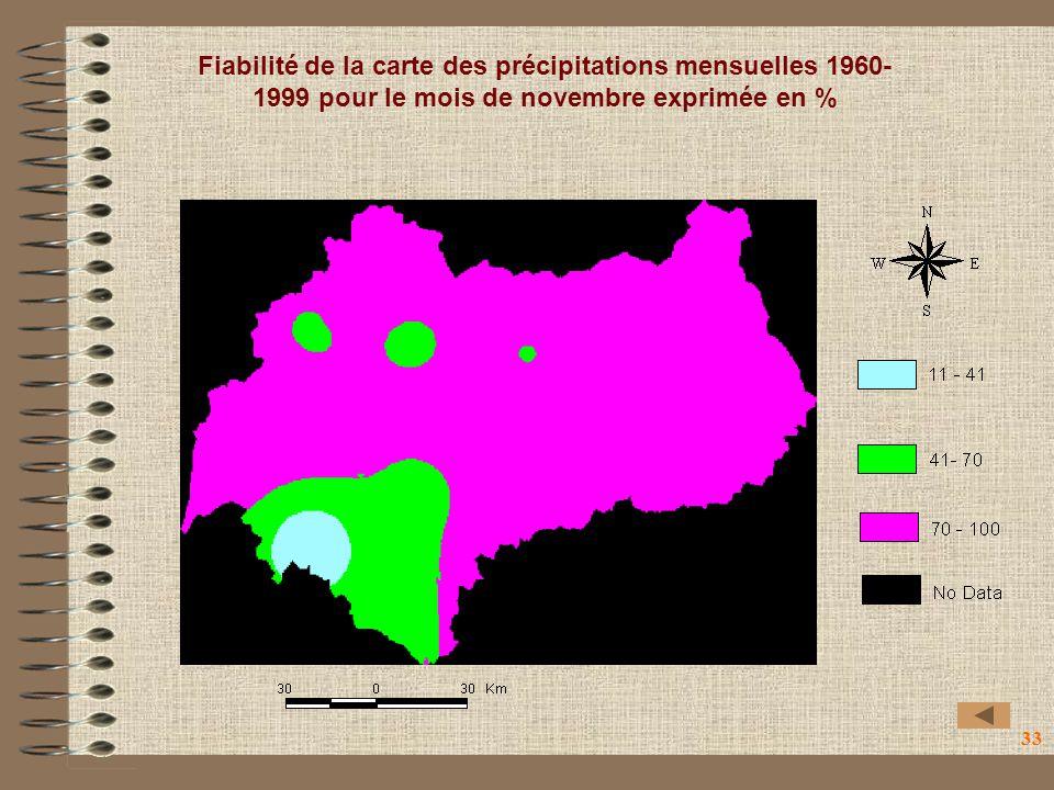 33 Fiabilité de la carte des précipitations mensuelles 1960- 1999 pour le mois de novembre exprimée en %