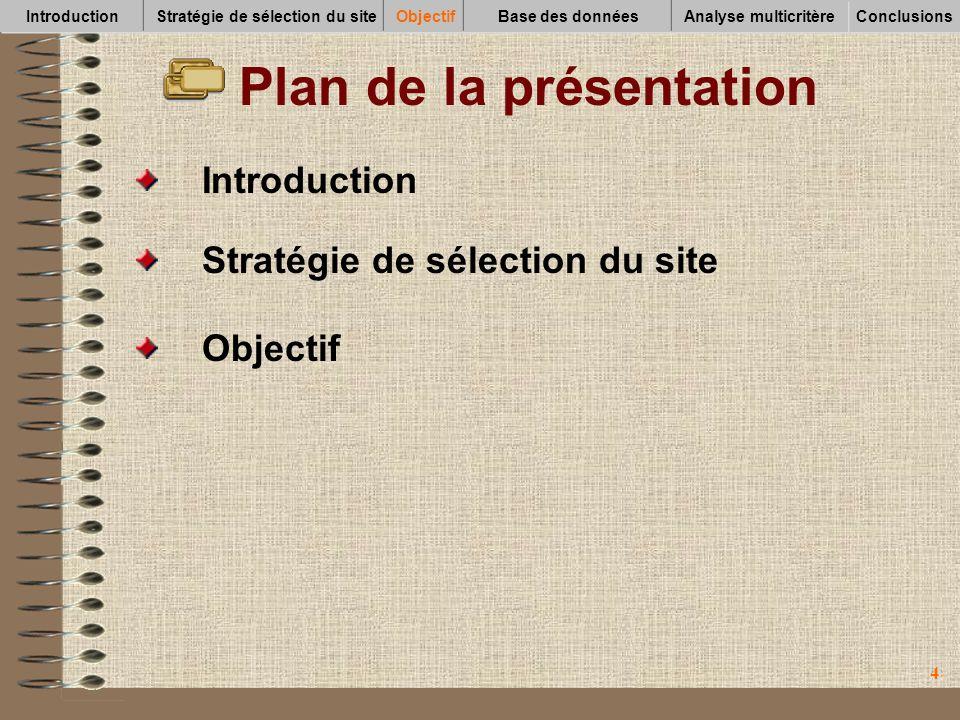 44 Plan de la présentation Objectif Introduction Stratégie de sélection du site IntroductionStratégie de sélection du siteObjectifBase des données Con