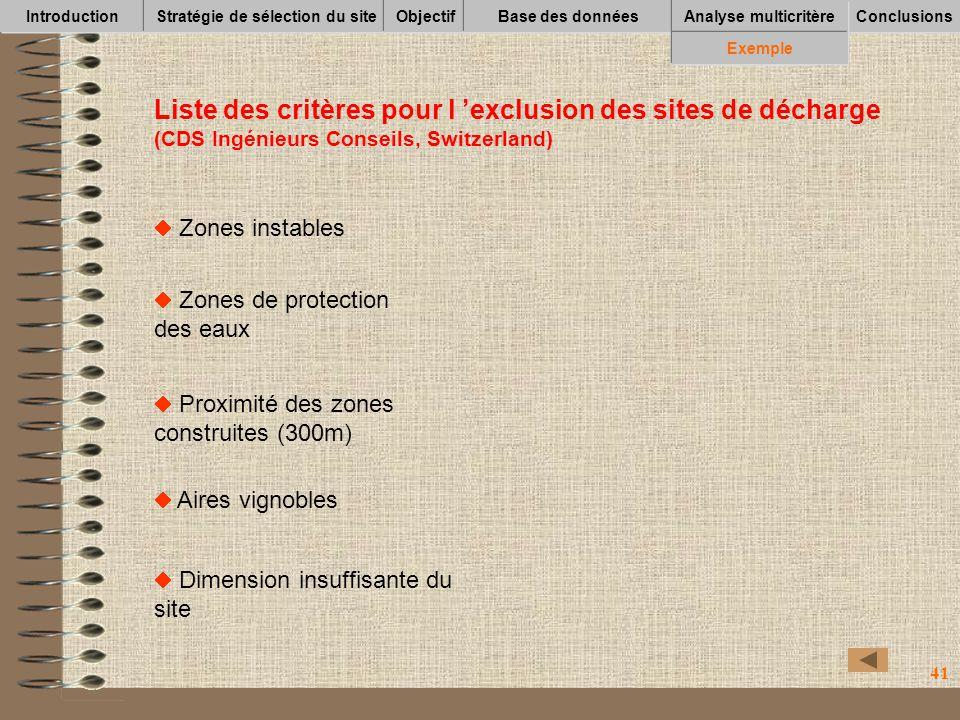 41 Zones instables Liste des critères pour l exclusion des sites de décharge (CDS Ingénieurs Conseils, Switzerland) Zones de protection des eaux Proxi