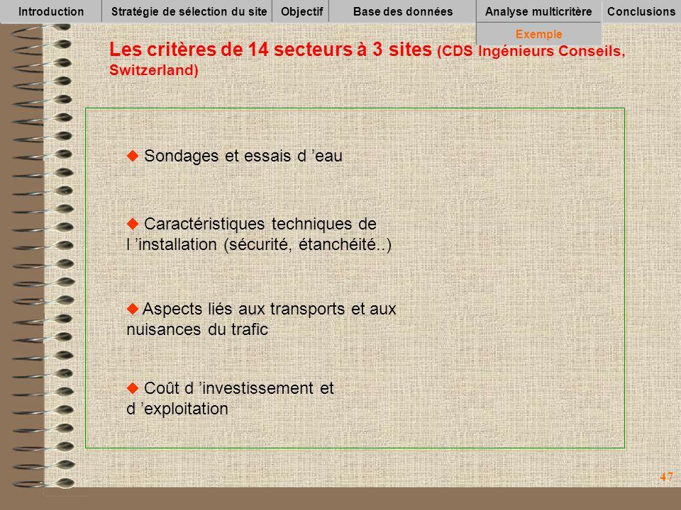 47 IntroductionStratégie de sélection du siteObjectifBase des données Conclusions Analyse multicritère Exemple Les critères de 14 secteurs à 3 sites (