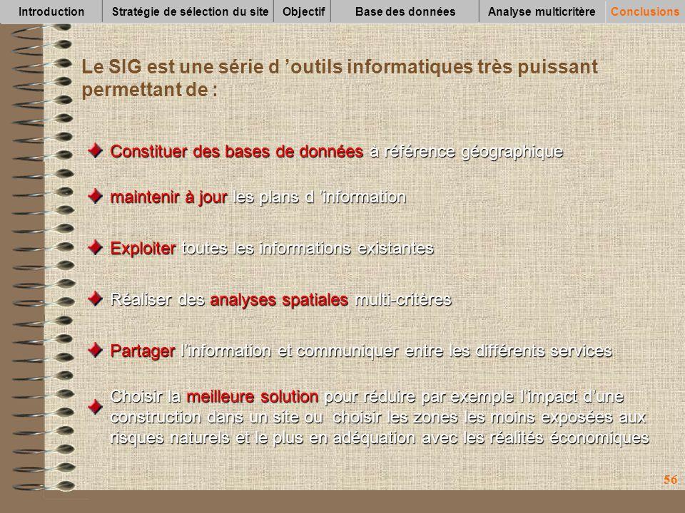 56 Le SIG est une série d outils informatiques très puissant permettant de : Constituer des bases de données à référence géographique maintenir à jour