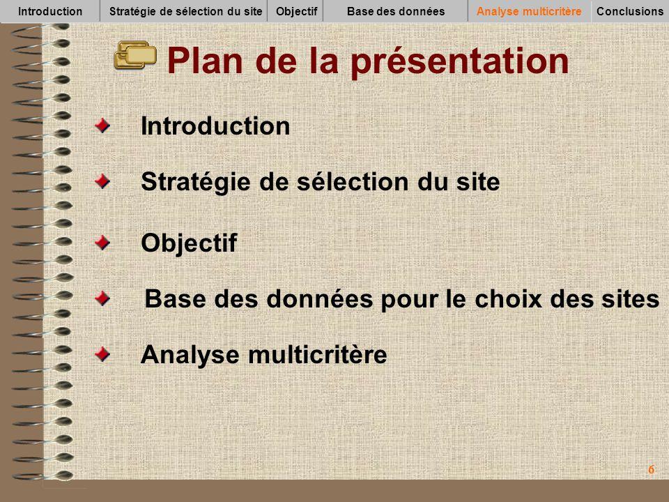 66 Plan de la présentation Analyse multicritère Base des données pour le choix des sites Objectif Introduction Stratégie de sélection du site Introduc