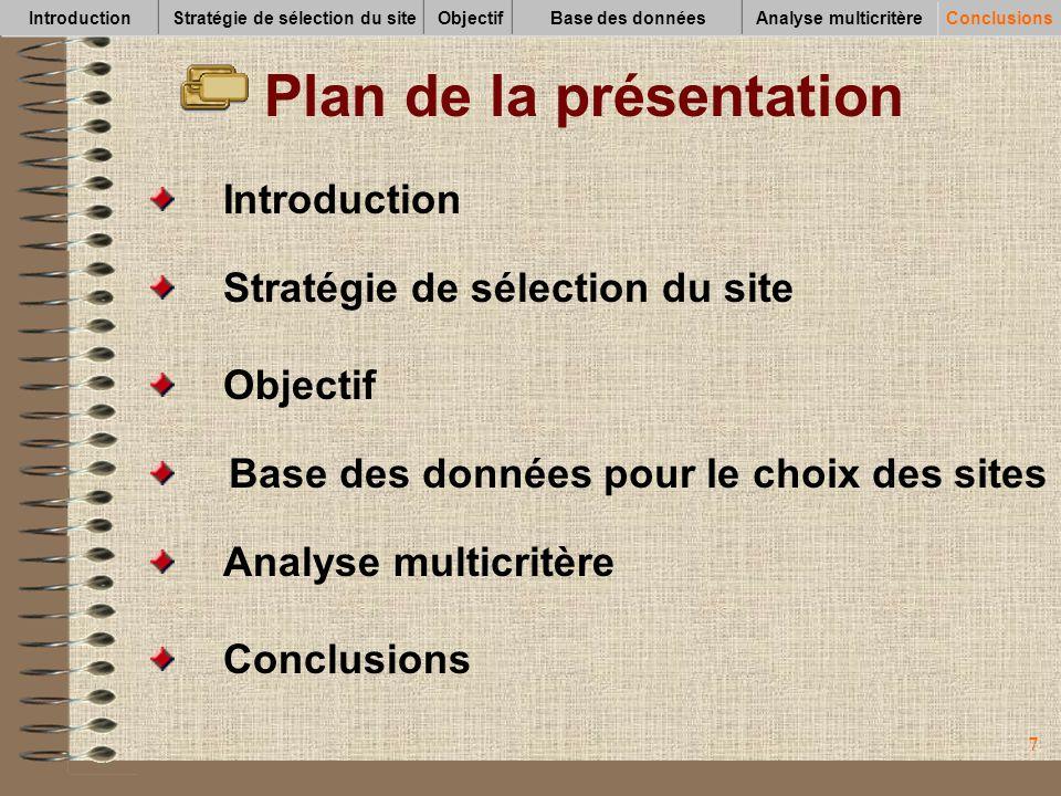 77 Plan de la présentation Conclusions Analyse multicritère Base des données pour le choix des sites Objectif Introduction Stratégie de sélection du s