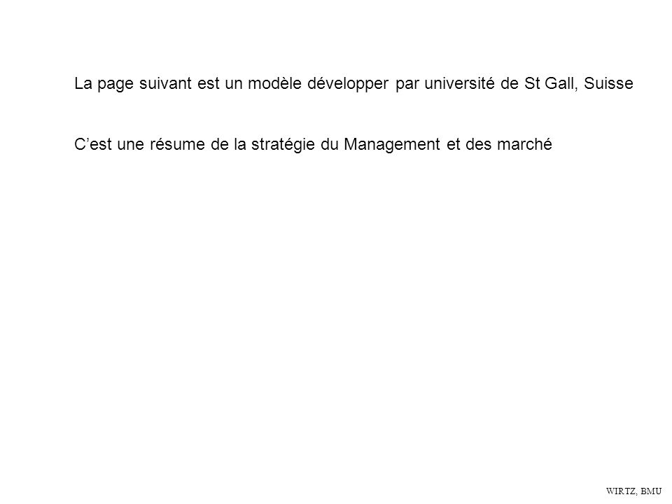 WIRTZ, BMU La page suivant est un modèle développer par université de St Gall, Suisse Cest une résume de la stratégie du Management et des marché