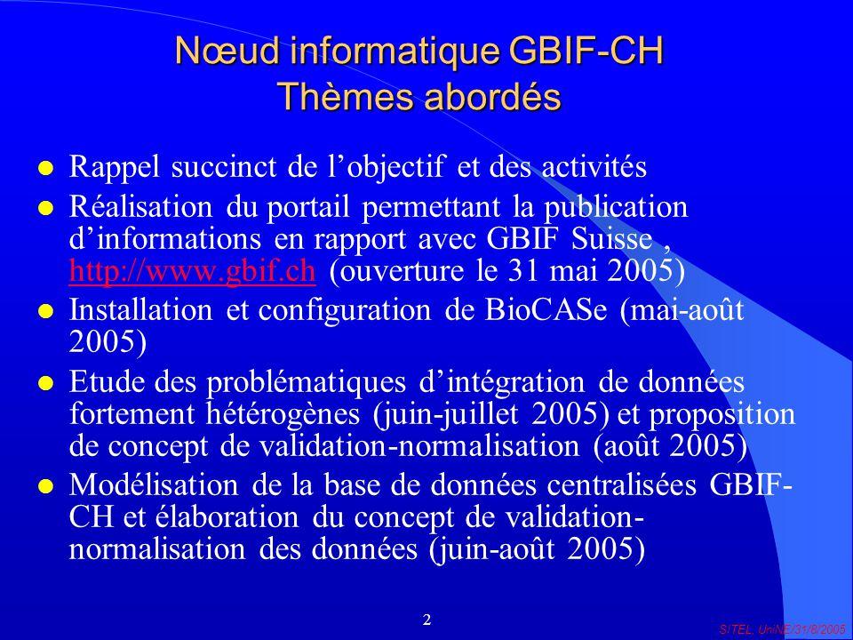 2 SITEL, UniNE/31/8/2005 Nœud informatique GBIF-CH Thèmes abordés l Rappel succinct de lobjectif et des activités l Réalisation du portail permettant la publication dinformations en rapport avec GBIF Suisse, http://www.gbif.ch (ouverture le 31 mai 2005) http://www.gbif.ch l Installation et configuration de BioCASe (mai-août 2005) l Etude des problématiques dintégration de données fortement hétérogènes (juin-juillet 2005) et proposition de concept de validation-normalisation (août 2005) l Modélisation de la base de données centralisées GBIF- CH et élaboration du concept de validation- normalisation des données (juin-août 2005)