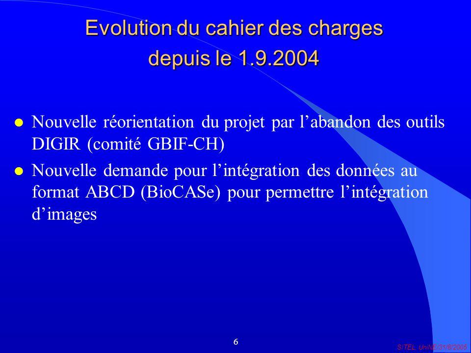 6 SITEL, UniNE/31/8/2005 Evolution du cahier des charges depuis le 1.9.2004 l Nouvelle réorientation du projet par labandon des outils DIGIR (comité GBIF-CH) l Nouvelle demande pour lintégration des données au format ABCD (BioCASe) pour permettre lintégration dimages