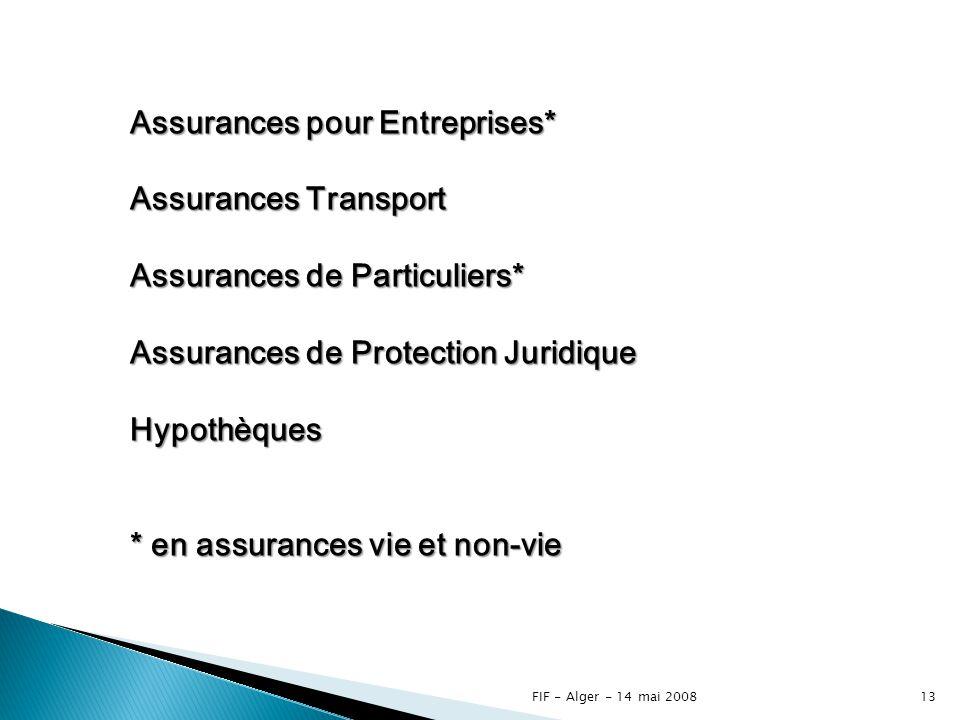 FIF - Alger - 14 mai 200812 Les assurances sociales 1 er pilier2 e pilier3 e pilier AVS / AI APG LPP Libre