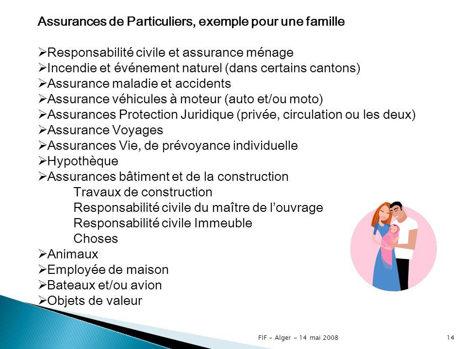 FIF - Alger - 14 mai 200813 Assurances pour Entreprises* Assurances Transport Assurances de Particuliers* Assurances de Protection Juridique Hypothèques * en assurances vie et non-vie
