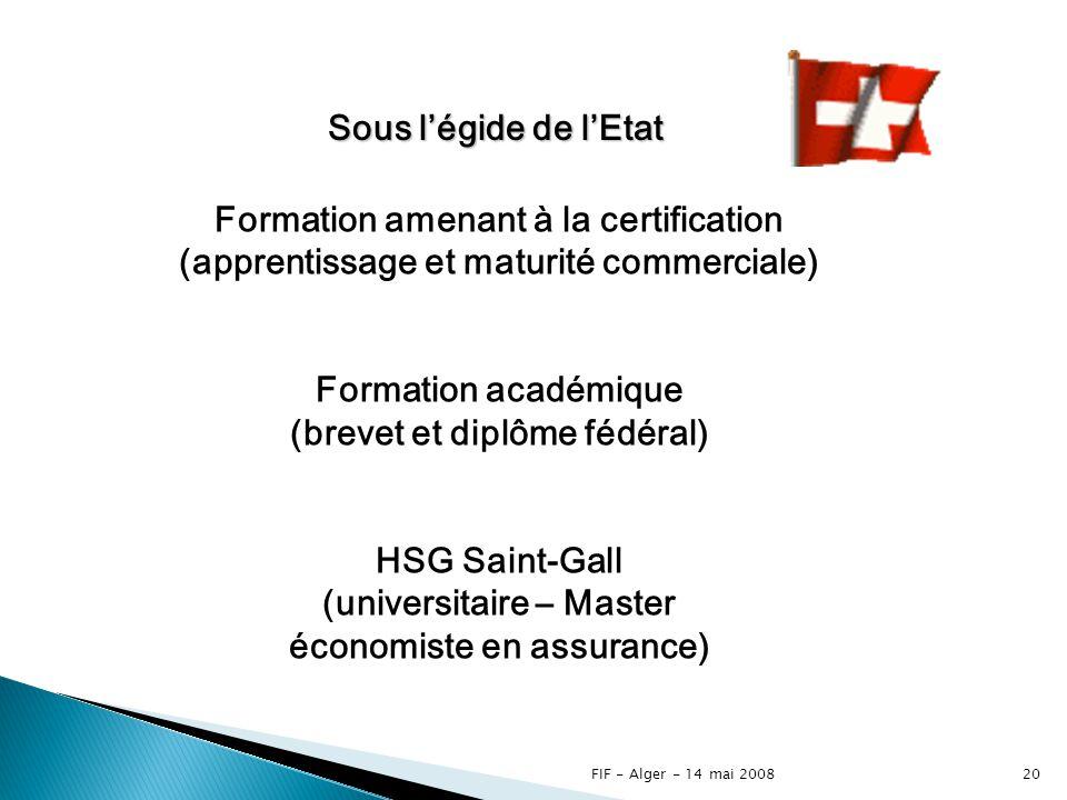 FIF - Alger - 14 mai 200819 Formation continue spécifique à la fonction exercée Souscription – Vente – Sinistres Logistique, Finance et Management