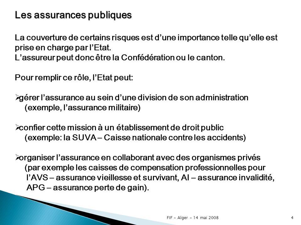 3 Le système des assurances en Suisse Les assurances publiques Les assurances privées Les assurances obligatoires Les assurances semi-obligatoires Les assurances facultatives Lensemble des assurances sont régies par des lois et ordonnances fédérales ou cantonales.